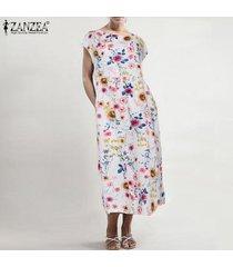zanzea vestido de manga corta para mujer vestido largo de verano con caftán largo para mujer tallas grandes -blanco