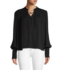 lace-up long-sleeve top