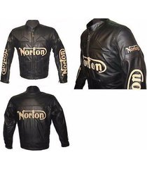 affordable norton motorcycle leather jacket  black black for men xs upto 6 xl