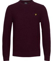 basket weave knitted jumper stickad tröja m. rund krage röd lyle & scott