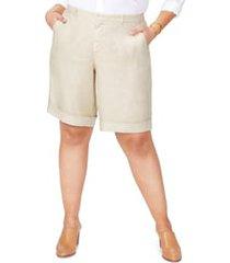 plus size women's nydj linen bermuda shorts