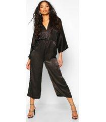 velvet satin kimono sleeve culotte jumpsuit, black