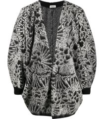 saint laurent abstract jacquard-woven cardigan - black