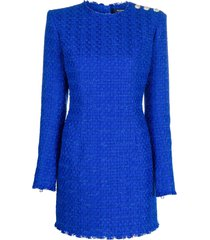 balmain tweed button-embellished mini dress - blue