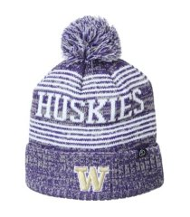 zephyr washington huskies bismarck pom knit hat