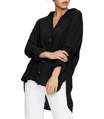 women's michael stars cotton button-up top, size x-small - black
