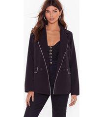 womens none of your business diamante trim blazer - black