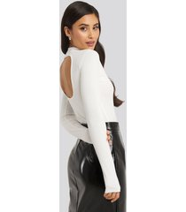 na-kd party open back ribbed body - white