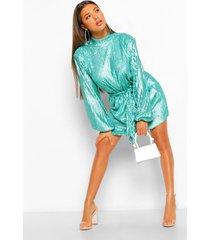 skater jurk met pailletten, hoge kraag en ceintuur, turquoise