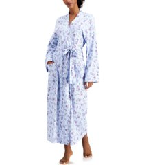 charter club printed cotton long knit robe, created for macy's