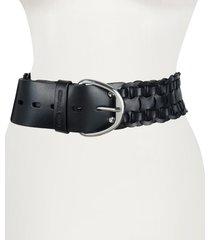 women's michael kors wide woven leather belt, size large - black
