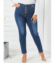 talla grande classic botón de cinco bolsillos diseño jeans