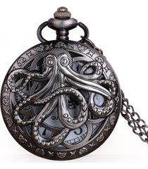 reloj bolsillo octopus cuarzo analogo steampunk cadena 1173