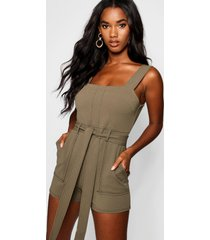 top stitch square neck pocket romper, olive