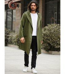 abrigo informal con capucha para hombre cárdigan liso de longitud media