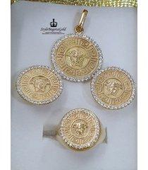 cadena tejido martillado  y aderezo oro 18k italiano ley  750