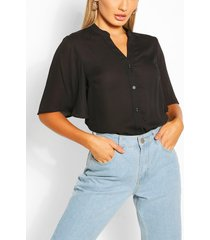 angel sleeve button down woven top, black