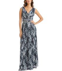 r & m richards embellished metallic-print gown