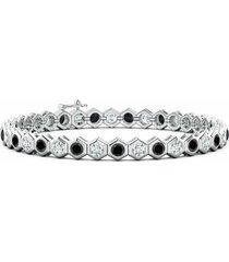 natori indochine 14k hexagon black and white diamond tennis bracelet, women's