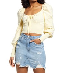 women's lulus crop square neck sweater, size large - yellow