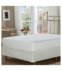 lençol de baixo queen branco com elástico soft touch plumasul