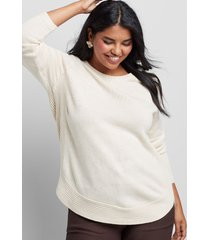 lane bryant women's curved high-low pullover sweater 26/28 oatmeal heather