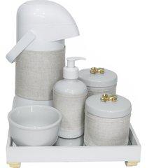 kit higiene espelho completo porcelanas, garrafa e capa flor de liz dourado quarto beb㪠 - dourado - dafiti