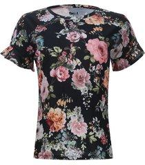 camiseta flores mangas con arandelas color negro, talla 6