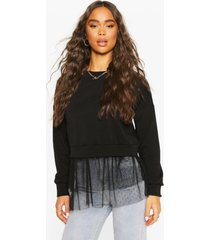 dobby mesh frill 2-in-1 sweat top, black