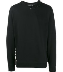 craig green lace-up detail sweatshirt - black