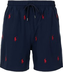 polo ralph lauren traveler embroidered logo swim shorts - blue