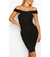off shoulder bodycon midi dress, black