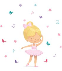 adesivo de parede bailarina loira para quarto de menina - rosa - menina - dafiti