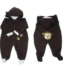 macacão zoo macaquinho marrom i9 baby