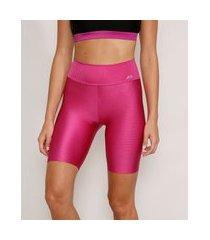 bermuda feminina esportiva ace texturizada rosa escuro