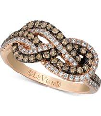 le vian chocolatier knots chocolate diamonds (3/8 ct. t.w.) & vanilla diamonds (1/4 ct. t.w.) statement ring in 14k rose gold