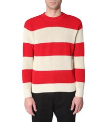 ami alexandre mattiussi striped cotton sweater