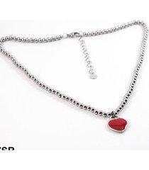 gargantilla forever jewels bolitas corazón rojo
