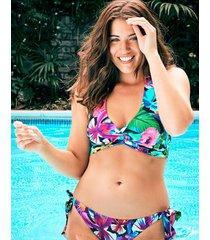 hawaii floral soft wrap halter bikini top