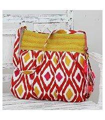 cotton shoulder bag, 'happy energy' (india)