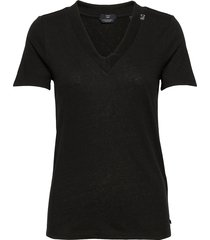 basic v-neck in linen and recycled polyester blend t-shirts & tops short-sleeved svart scotch & soda