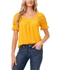 cece floral chain-stitched ruffled top