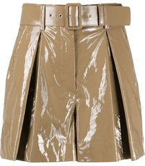 msgm vinyl-effect belted shorts - neutrals