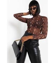 akira sssss snake print mesh bodysuit