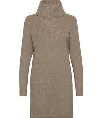 katerina knits roll neck dress jurk knielengte beige french connection