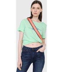 camiseta verde neón-azul tommy hilfiger