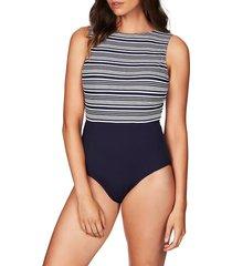 women's sea level '50s retron one-piece swimsuit, size 8 us - blue