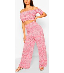 paisley print bardot top & wide leg trouser co-ord, coral
