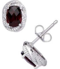 rhodolite garnet oval rope frame stud earrings (1-7/8 ct. t.w.) in sterling silver