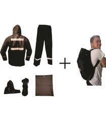 combo impermeable moto 4 piezas + forro maleta impermeablessdc -negro